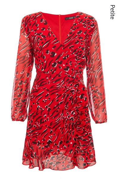 Petite Red and Black Long Sleeve Animal Print Dress